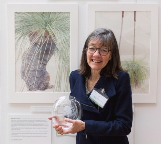 Julie Nettleton with her award for Best Botanical Painting for Xanthorrhoea resinosa Pers., Grass Three with Antechinus Stuartii , Brown Antechinus at the RHS London Botanical Art Show 2016.