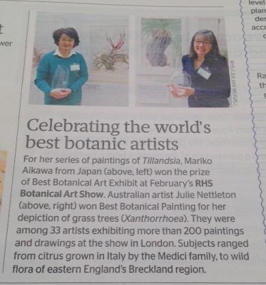 Celebrating the world's best botanic artists. Copyright RHS.